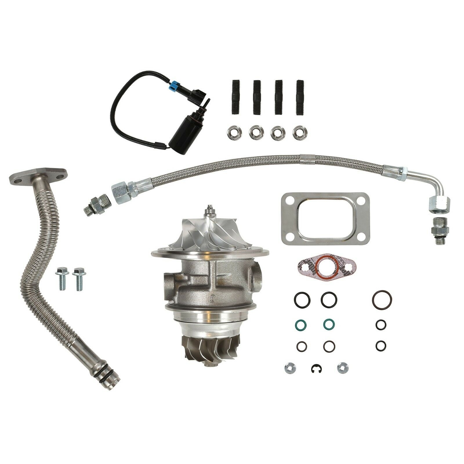 HE351CW Turbo Rebuild Kit Billet CHRA Oil Lines Wastegate Solenoid For 04.5-07 5.9L ISB Dodge Ram Cummins Diesel