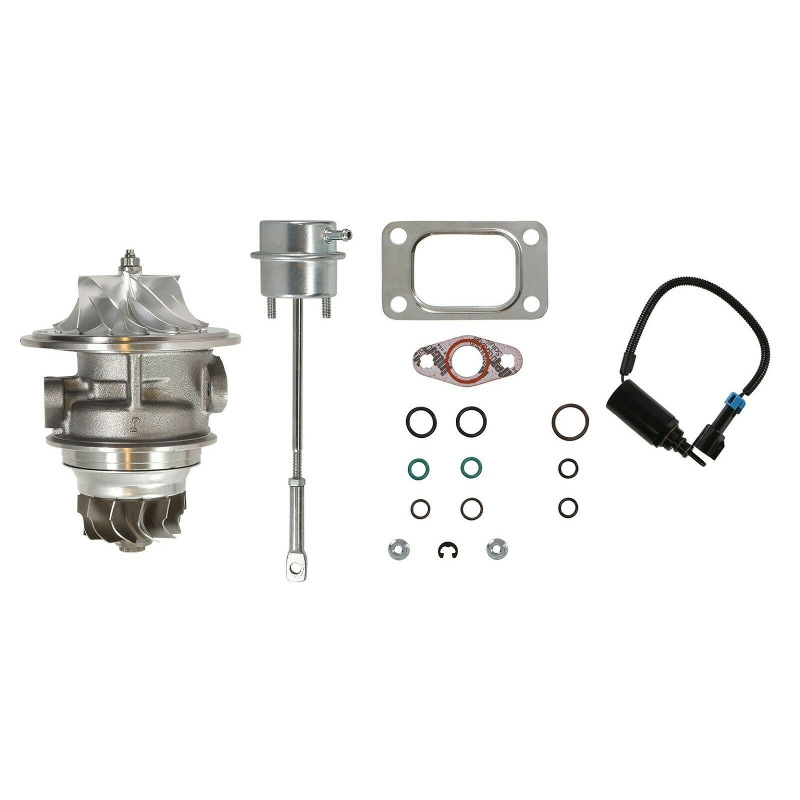 HE351CW Turbo Rebuild Kit Billet CHRA Wastegate Actuator Wastegate Solenoid For 04.5-07 5.9L ISB Dodge Ram Cummins Diesel