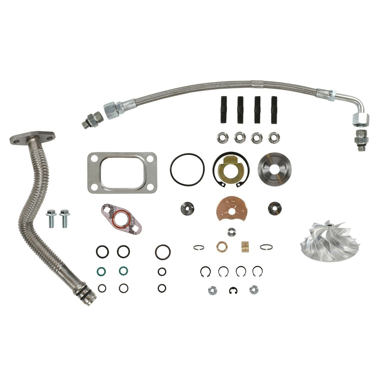 HE351CW Turbo Rebuild Kit Billet Wheel Oil Lines For 04.5-07 5.9L ISB Dodge Ram Cummins Diesel