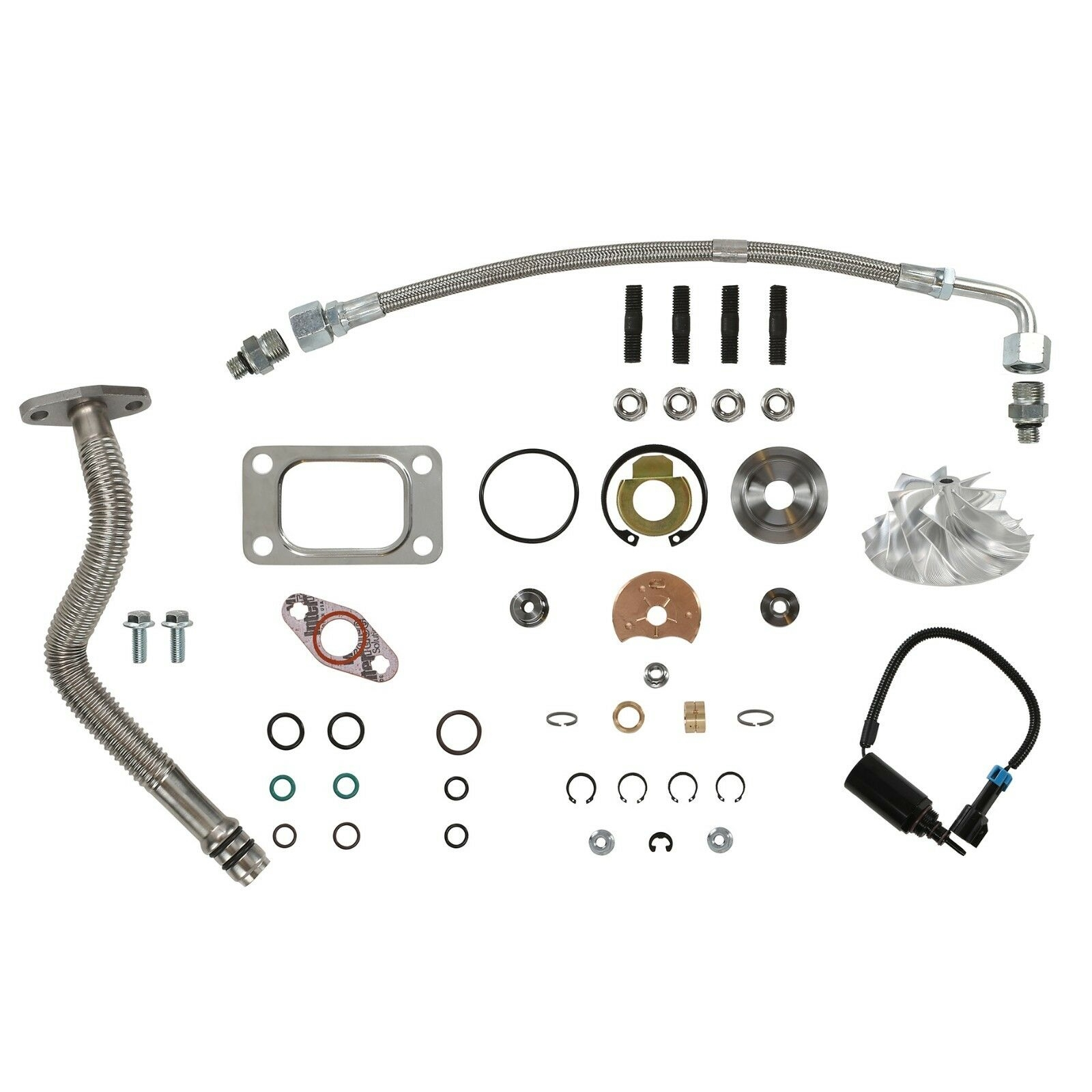 HE351CW Turbo Rebuild Kit Billet Wheel Oil Lines Wastegate Solenoid For 04.5-07 5.9L ISB Dodge Ram Cummins Diesel