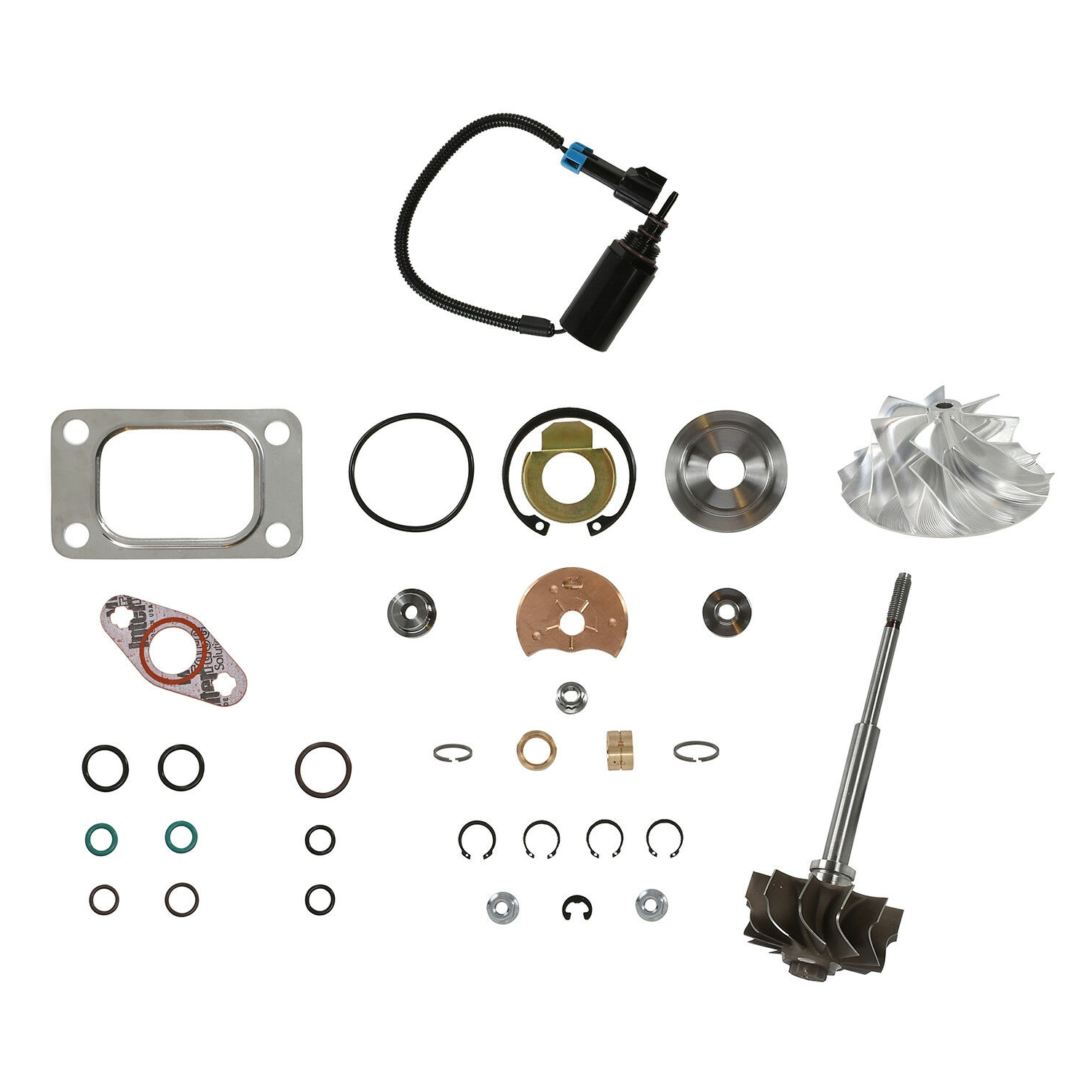 HE351CW Turbo Rebuild Kit Billet Wheel Turbine Shaft Wastegate Solenoid For 04.5-07 5.9L ISB Dodge Ram Cummins Diesel