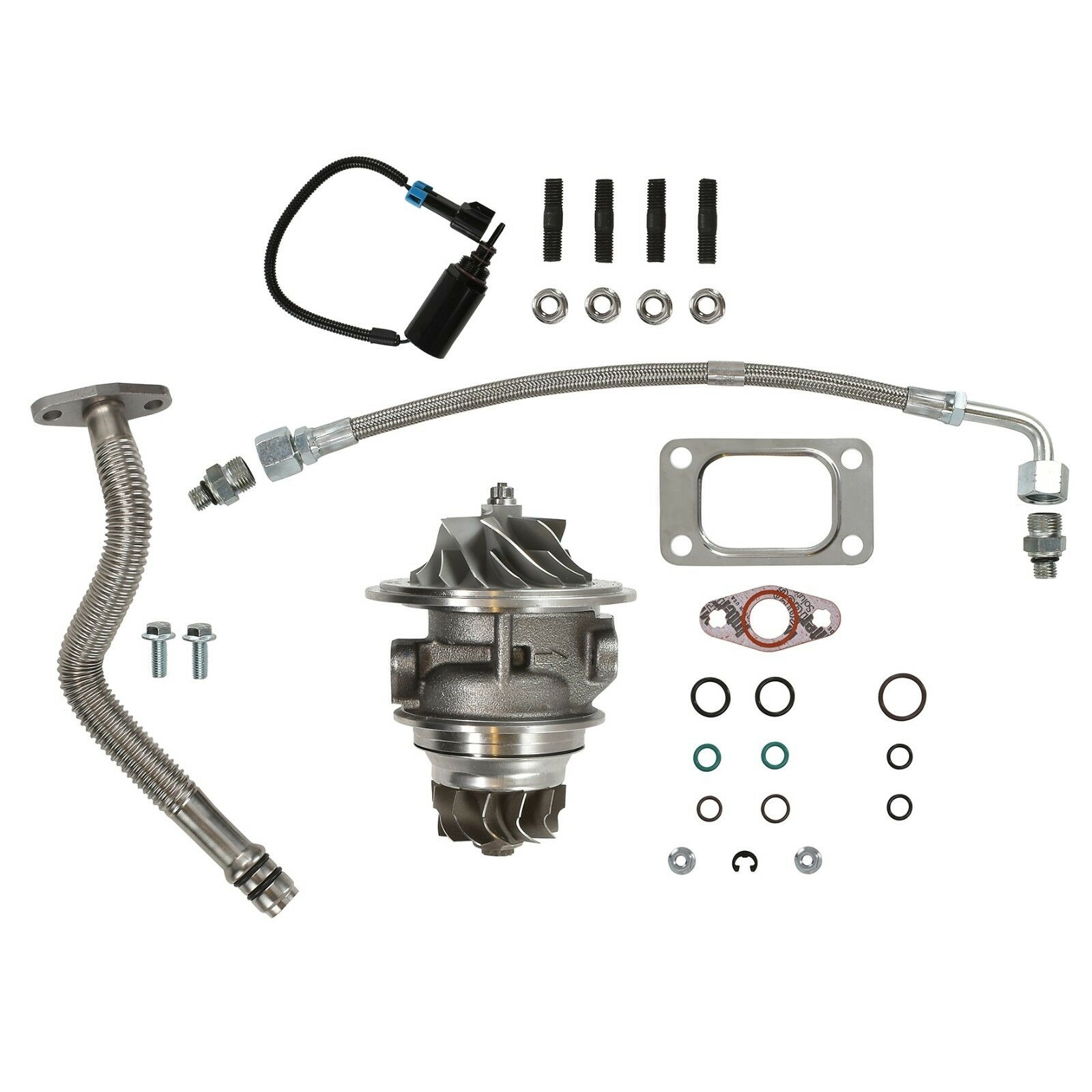 HE351CW Turbo Rebuild Kit Cast CHRA Oil Lines Wastegate Solenoid For 04.5-07 5.9L ISB Dodge Ram Cummins Diesel