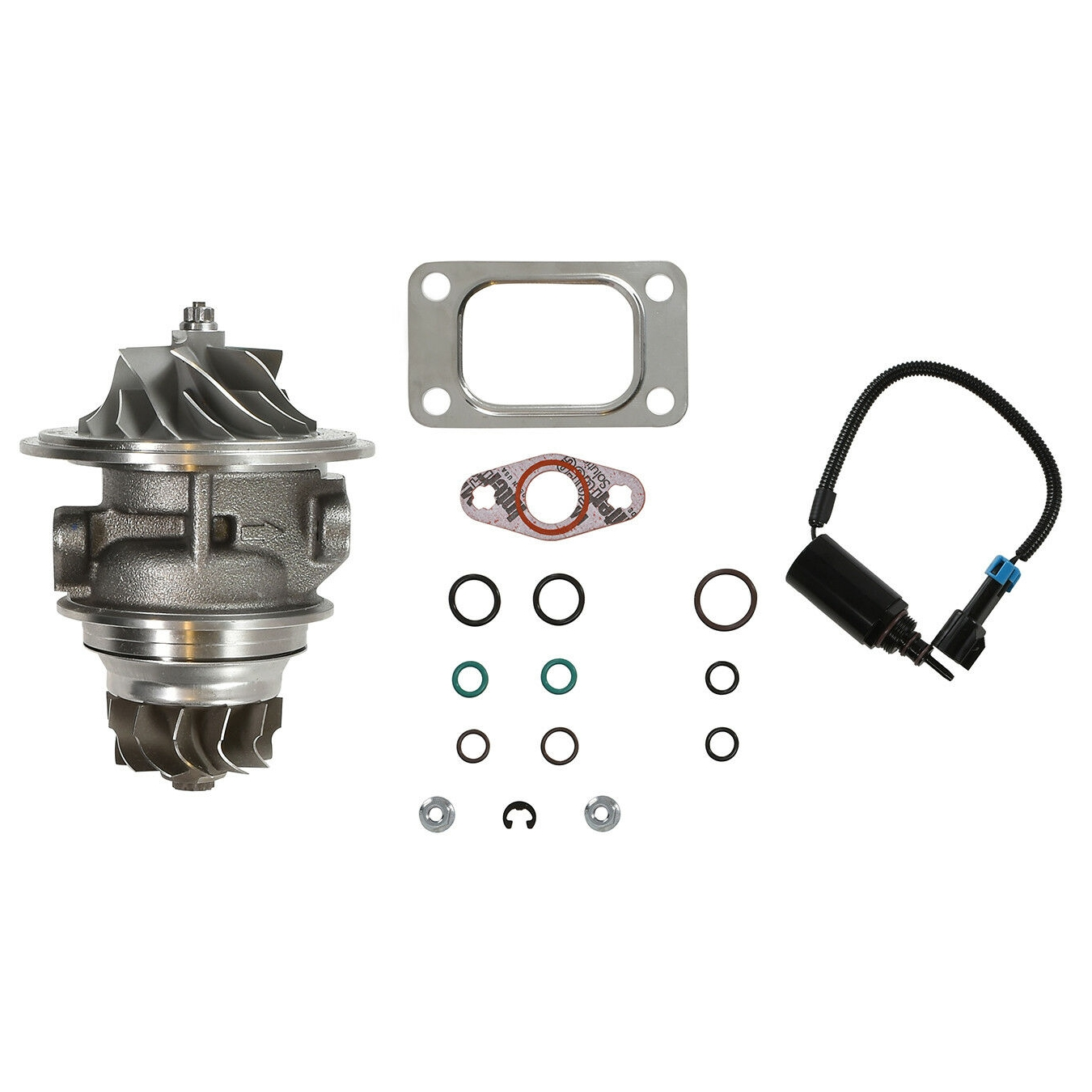 HE351CW Turbo Rebuild Kit Cast CHRA Wastegate Solenoid For 04.5-07 5.9L ISB Dodge Ram Cummins Diesel