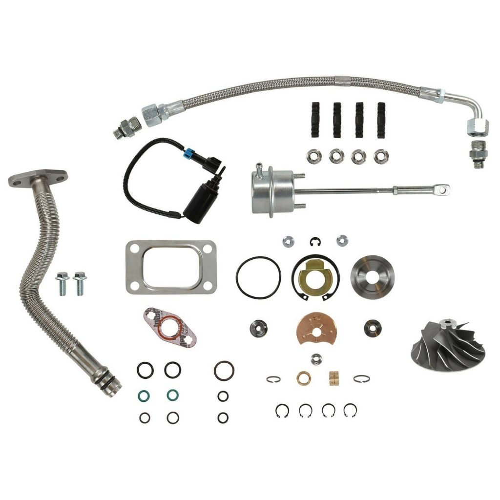 SPOOLOGIC HE351CW Turbo Rebuild Kit Cast Wheel Actuator Oil Lines Solenoid for 04.5-07 5.9L Cummins 24V