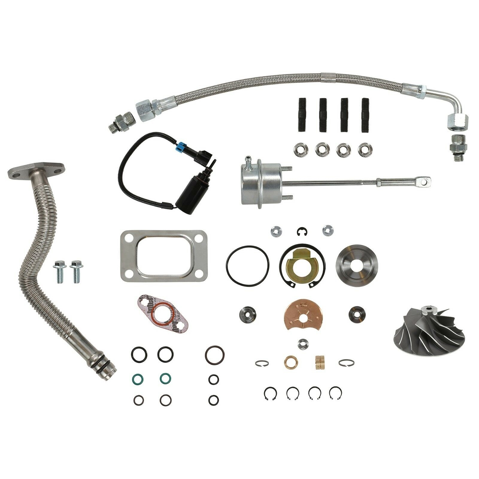 HE351CW Turbo Rebuild Kit Cast Wheel Actuator Oil Lines Wastegate Solenoid For 04.5-07 5.9L ISB Dodge Ram Cummins Diesel