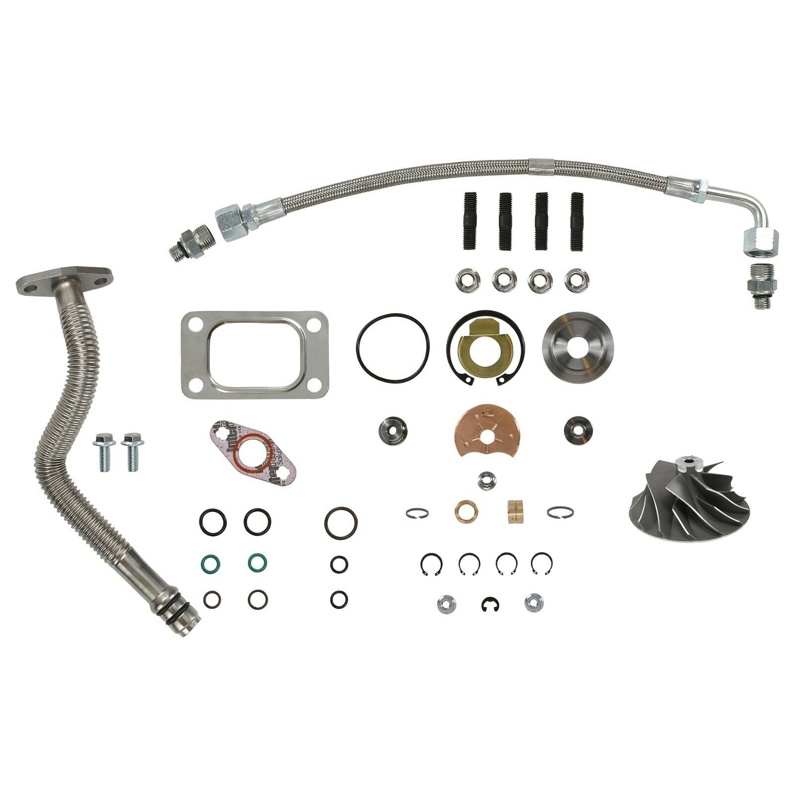 HE351CW Turbo Rebuild Kit Cast Wheel Oil Lines For 04.5-07 5.9L ISB Dodge Ram Cummins Diesel