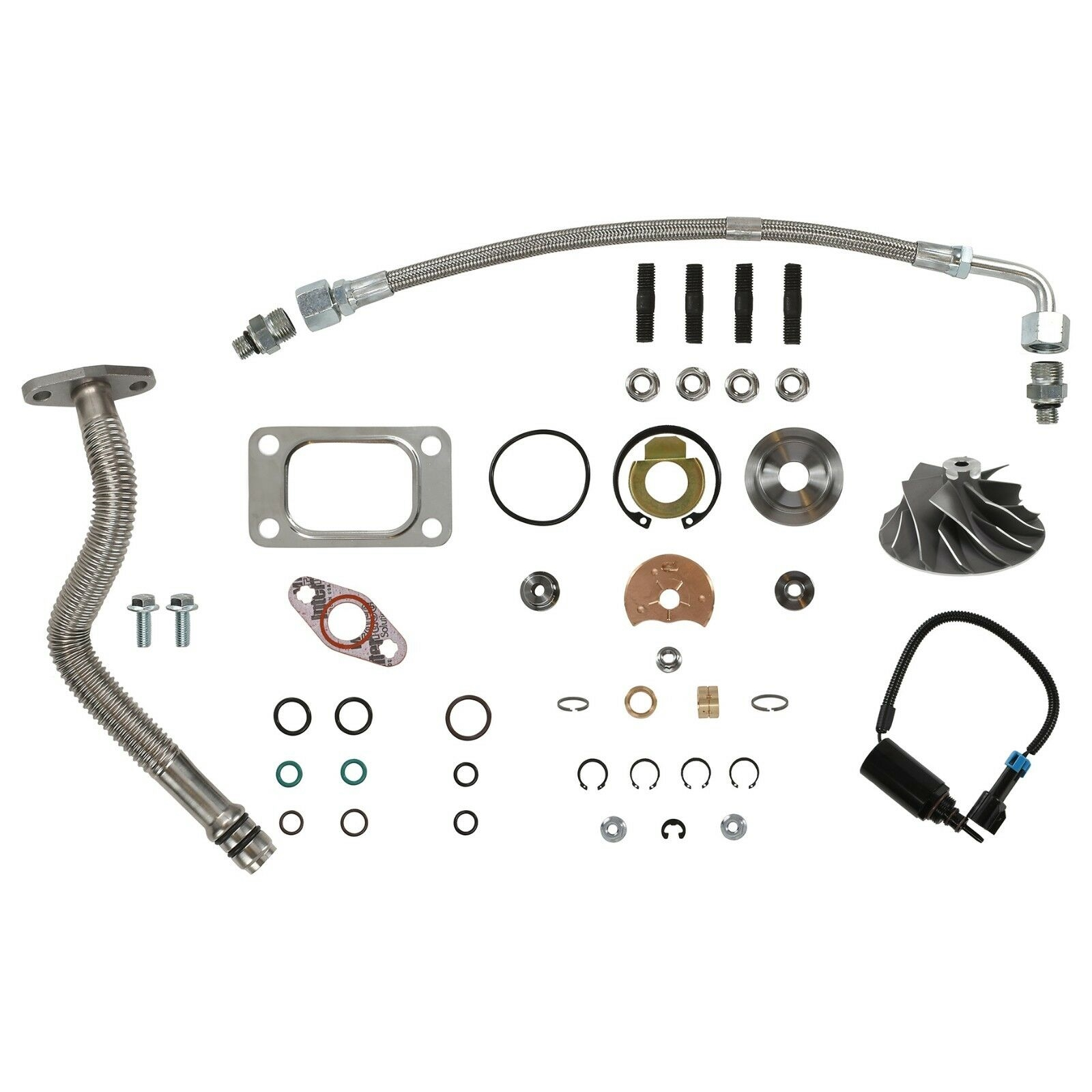 HE351CW Turbo Rebuild Kit Cast Wheel Oil Lines Wastegate Solenoid For 04.5-07 5.9L ISB Dodge Ram Cummins Diesel