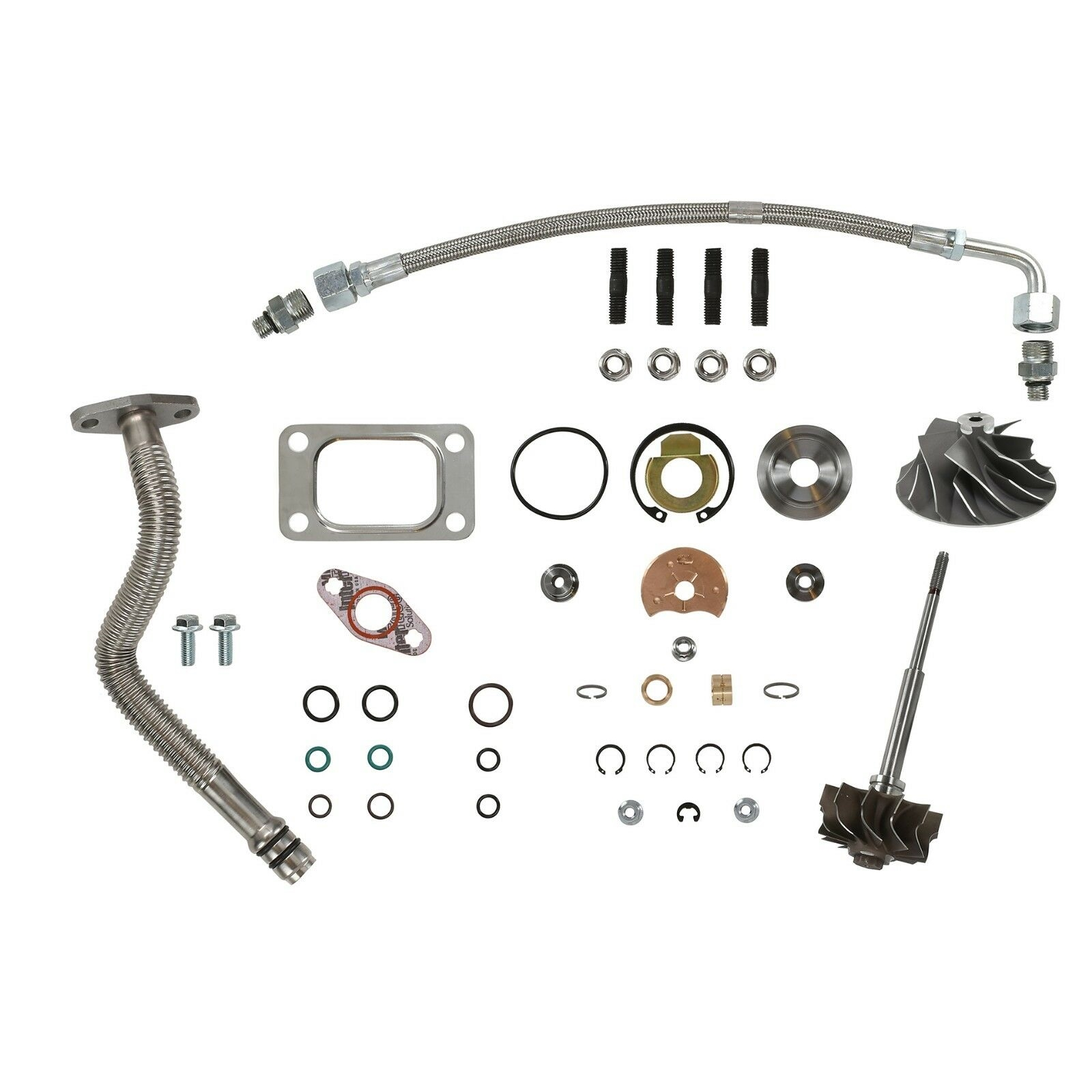 HE351CW Turbo Rebuild Kit Cast Wheel Turbine Shaft Oil Lines For 04.5-07 5.9L ISB Dodge Ram Cummins Diesel