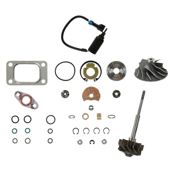 SPOOLOGIC HE351CW Turbo Rebuild Kit Cast Wheel Turbine Shaft Wastegate Solenoid for 04.5-07 5.9L Cummins 24V
