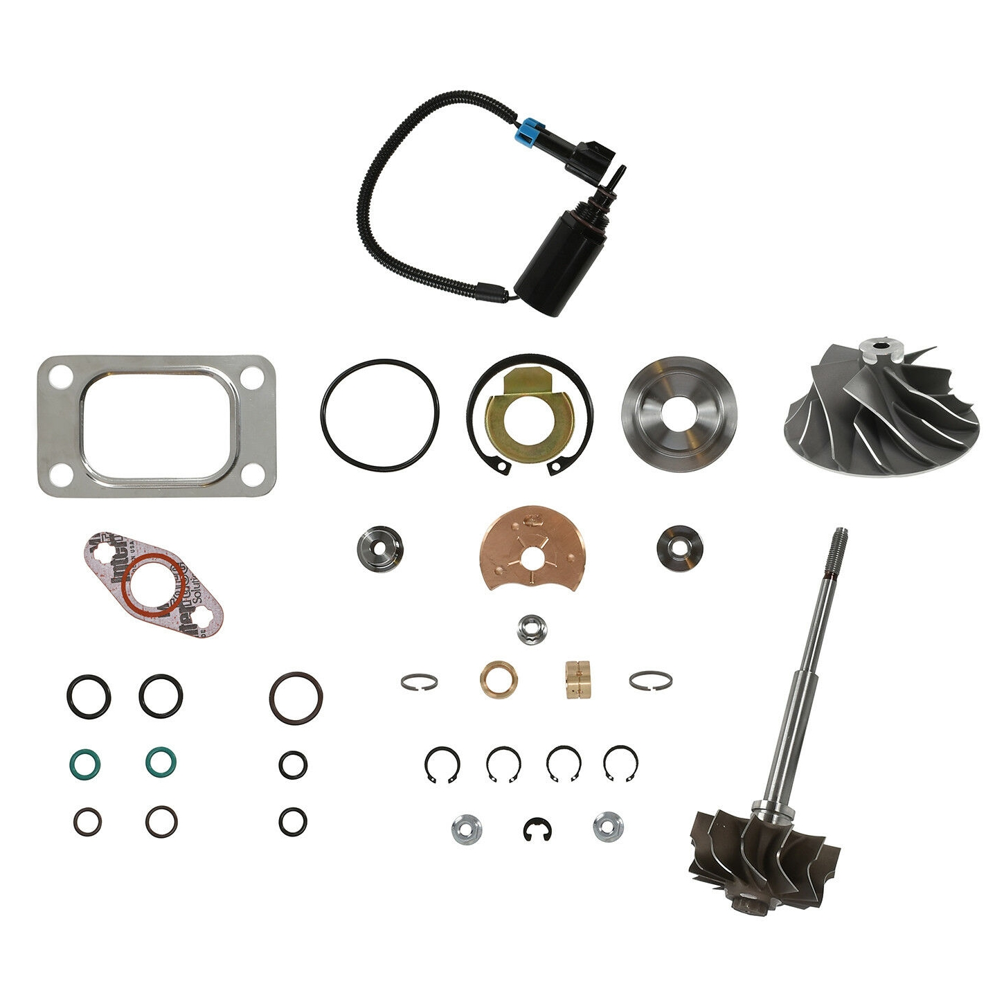 HE351CW Turbo Rebuild Kit Cast Wheel Turbine Shaft Wastegate Solenoid For 04.5-07 5.9L ISB Dodge Ram Cummins Diesel