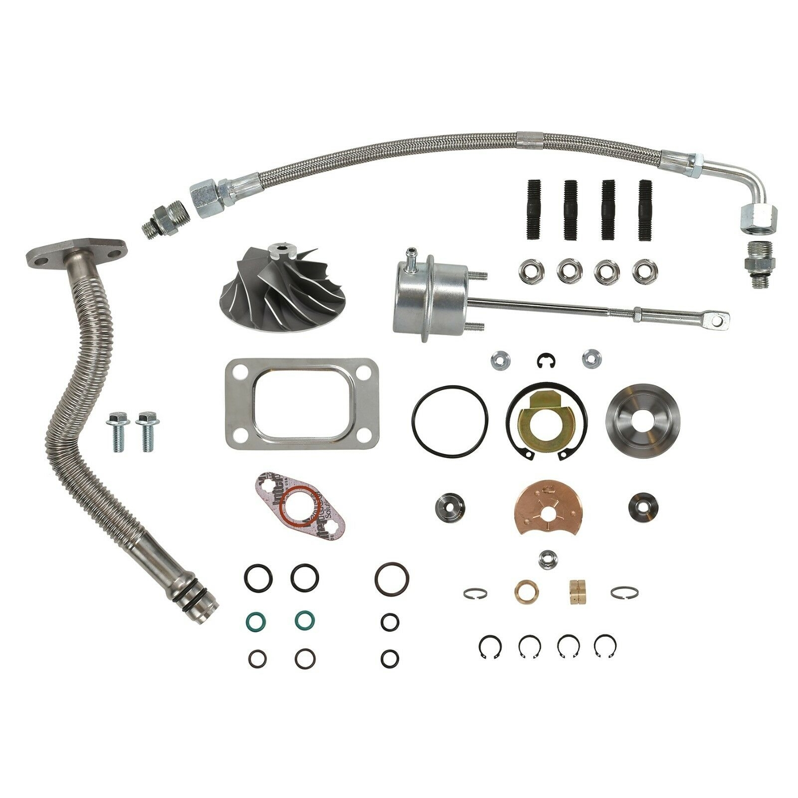 HE351CW Turbo Rebuild Kit Cast Wheel Wastegate Actuator Oil Lines For 04.5-07 5.9L ISB Dodge Ram Cummins Diesel