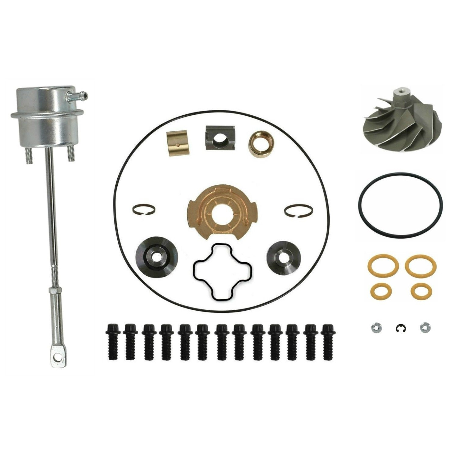 GTP38 Turbo Rebuild Kit Cast Compressor Wheel Wastegate Actuator For 99-03 7.3L Ford Powerstroke Diesel