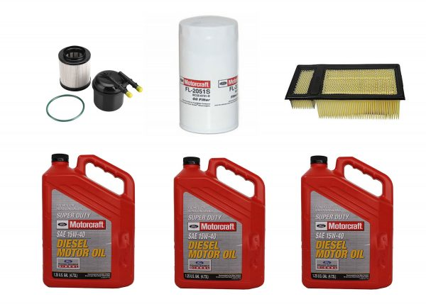 OEM Ford Motorcraft Oil Change Kit W/ Oil, Fuel & Air Filters for 11-16 6.7L Powerstroke