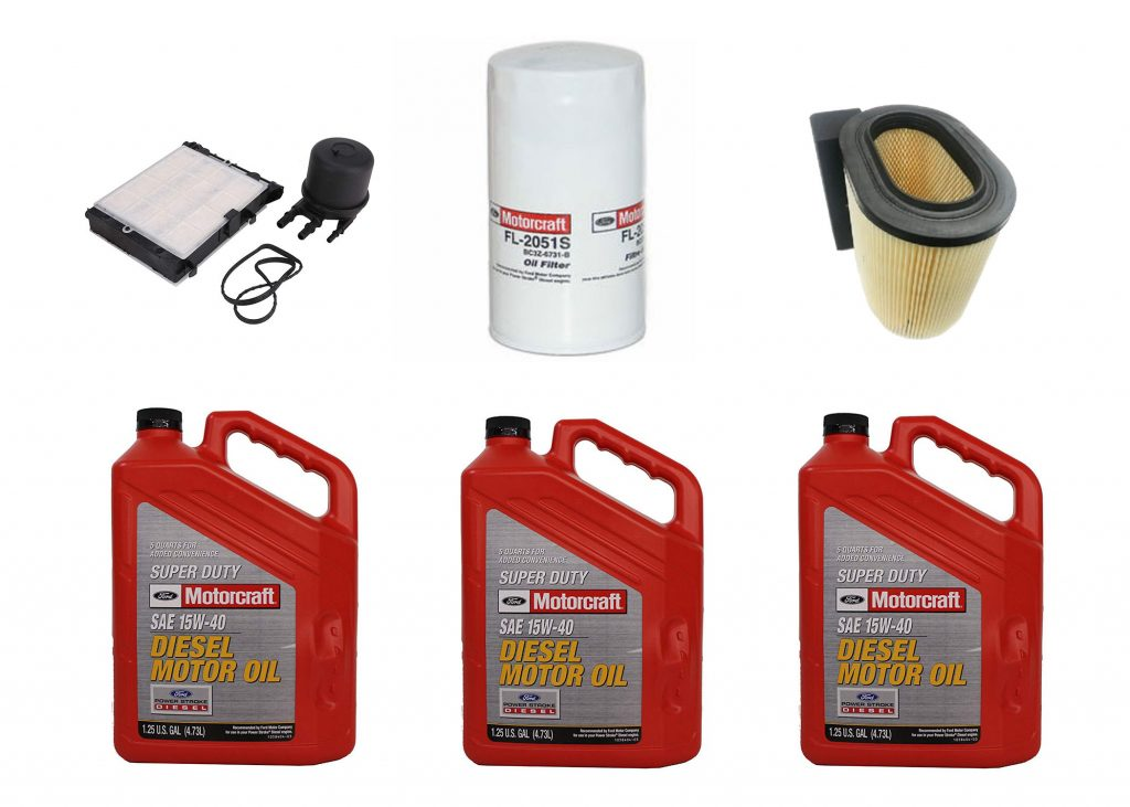OEM Ford Motorcraft Oil Change Kit W/ Oil, Fuel & Air Filters for 17-18 6.7L Powerstroke