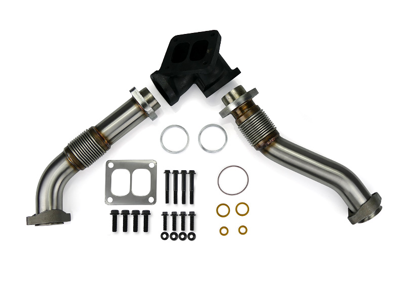 SPOOLOGIC 409SS Bellowed Exhaust Up-Pipes Kit For 94-97 7.3L Powerstroke