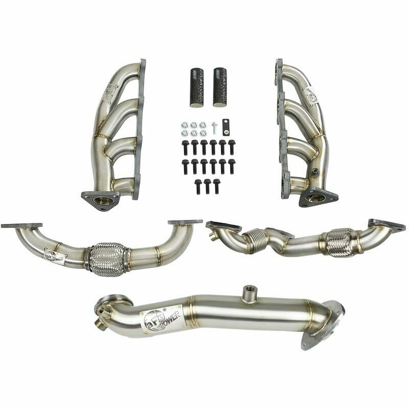 aFe Power Twisted Steel Headers With Up-Pipe + Down-Pipe for 15-16 LML Duramax