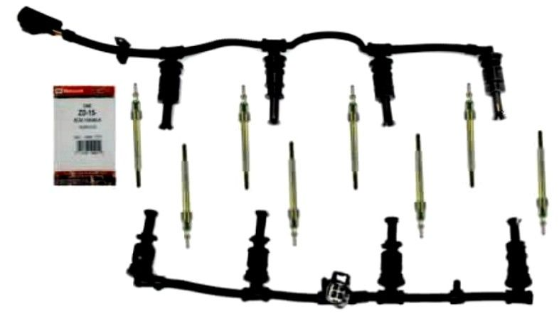 Set of 8 Motorcraft ZD-15 Glow Plugs + Set of 2 Glow Plug Harness for 08-10 6.4L Powerstroke