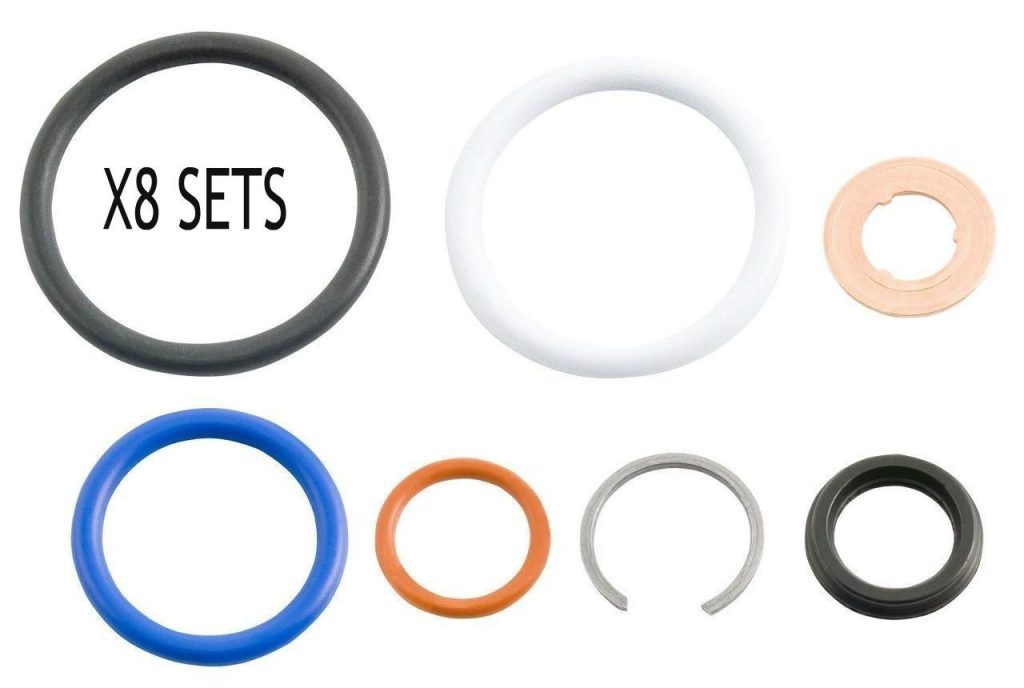 Set of 8 G2.8 Complete Fuel Injector Seal Kit for 03-07 6.0L Powerstroke