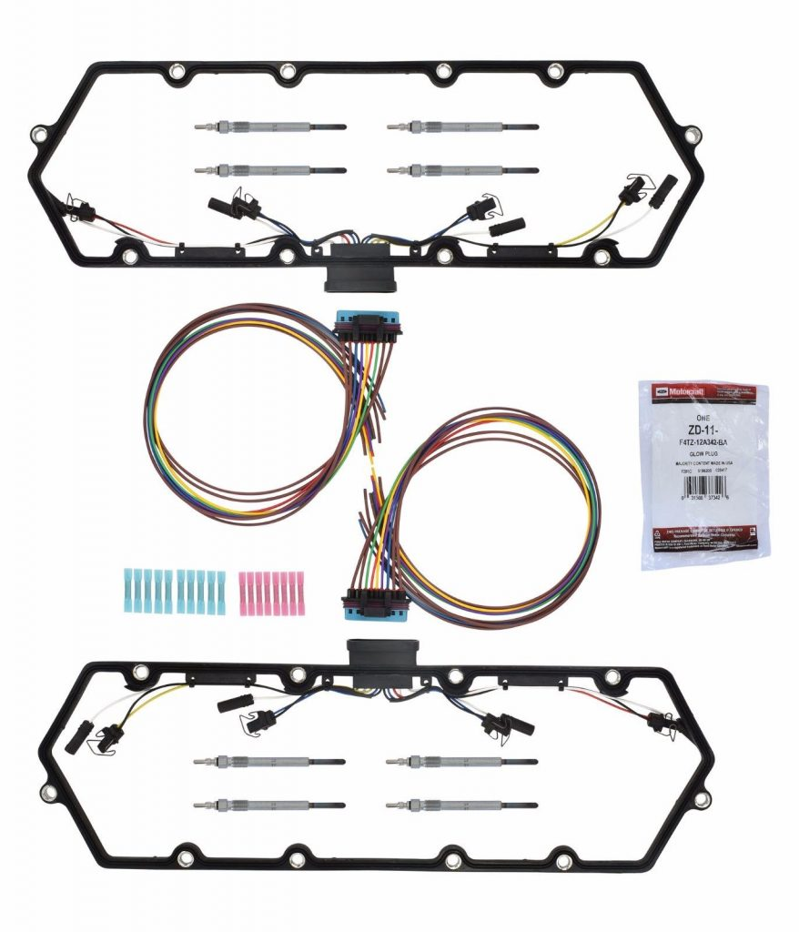 Valve Cover Gaskets + OEM Ford Motorcraft ZD-11 Glow Plugs for 99-03 7.3L Powerstroke